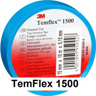 3M Isolierband 19mm x 25m TemFlex 1500 blau